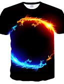 billige T-skjorter og singleter til herrer-Rund hals Store størrelser T-skjorte Herre - 3D / Dyr, Trykt mønster Svart XXXL