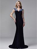 ราคาถูก Special Occasion Dresses-ทรัมเป็ต / เมอร์เมด คอวี ชายกระโปรงคอร์ท ซาติน / Tulle / กำมะหยี่ สไตล์วินเทจ ทางการ แต่งตัว กับ ของประดับด้วยลูกปัด / พู่ โดย TS Couture®