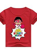 olcso Lány ruhák-Gyerekek Kisgyermek Fiú Alap Nyomtatott Nyomtatott Rövid ujjú Pamut Póló Arcpír rózsaszín