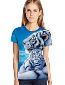 ราคาถูก เสื้อยืดสำหรับสุภาพสตรี-สำหรับผู้หญิง ขนาดพิเศษ เสื้อเชิร์ต ลายพิมพ์ หลวม 3D / สัตว์ / การ์ตูน สีฟ้า