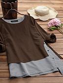 baratos Camisas Femininas-Mulheres Tamanhos Grandes Camiseta Estampa Colorida Algodão Solto Camel