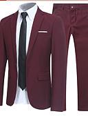 billige Dresser-Svart / Burgunder / Navyblå Ensfarget Standard polyster Dress - Med hakk Enkelt Brystet Enn-knapp / drakter