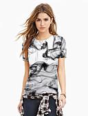 baratos Camisetas Femininas-Mulheres Camiseta Básico / Exagerado Estampado, Estampa Colorida / 3D / Gráfico Branco