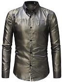 baratos Camisas Masculinas-Homens Tamanho Europeu / Americano Camisa Social - Bandagem Moda de Rua / Elegante Sólido / Quadriculada Colarinho Clássico Dourado / Manga Longa