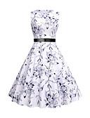 Χαμηλού Κόστους Βίντατζ Βασίλισσα-Γυναικεία Βίντατζ Κομψό Γραμμή Α Θήκη Swing Φόρεμα - Φλοράλ, Φιόγκος Στάμπα Ως το Γόνατο