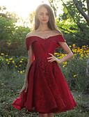 Χαμηλού Κόστους Φορέματα Παρανύμφων-Γραμμή Α Ώμοι Έξω Μέχρι το γόνατο Τούλι Φόρεμα Παρανύμφων με Διακοσμητικά Επιράμματα