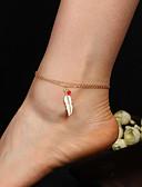 ราคาถูก นาฬิกาดิจิตอลสตรี-สำหรับผู้หญิง สร้อยข้อมือข้อเท้า สองชั้น Feather คลาสสิก วินเทจ เกี่ยวกับยุโรป สร้อยข้อเท้า เครื่องประดับ สีทอง / สีเงิน สำหรับ ทุกวัน เทศกาลคานาวาล Street ฮอลิเดย์ / 2pcs