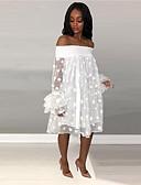 olcso Női ruhák-Női Utcai sikk Elegáns Egyenes Ruha - Háló Kollázs, Egyszínű Térdig érő