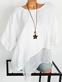 billige T-skjorter til damer-Bomull Oversized Store størrelser Skjorte Dame - Ensfarget, Blonde / Netting / Lapper Gatemote / overdrevet Hvit XXXL