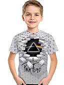 お買い得  男児 セーター&カーディガン-子供 幼児 男の子 活発的 ベーシック 幾何学模様 プリント 半袖 Tシャツ ライトグレー