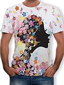 ราคาถูก เสื้อยืดและเสื้อกล้ามผู้ชาย-สำหรับผู้ชาย ขนาดพิเศษ เสื้อเชิร์ต ฝ้าย ลายพิมพ์ คอกลม ลายดอกไม้ / 3D ขาว