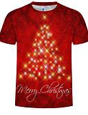 baratos Camisetas & Regatas Masculinas-Homens Tamanhos Grandes Camiseta Estampado, 3D Algodão Decote Redondo Vermelho