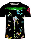 billige T-skjorter og singleter til herrer-Rund hals Store størrelser T-skjorte Herre - 3D / Tegneserie / Portrett, Trykt mønster Svart