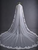 ราคาถูก ม่านสำหรับงานแต่งงาน-ชั้นเดียว งานผ้าขอบลายลูกไม้ / คลาสสิก ผ้าคลุมหน้าชุดแต่งงาน ผ้าคลุมหน้าในโบสถ์ กับ เข็มกลัด 118.11นิ้ว (300ซม.) ลูกไม้ / Tulle