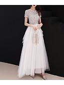 ราคาถูก Special Occasion Dresses-A-line อัญมณี ลากพื้น Tulle / เลื่อม แต่งตัว กับ เลื่อม / ชั้น โดย LAN TING Express