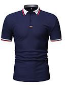 ราคาถูก จั๊มสูทและเสื้อคลุมสำหรับผู้หญิง-สำหรับผู้ชาย ขนาดของยุโรป / อเมริกา Polo ฝ้าย ลายต่อ คอเสื้อเชิ้ต ลายบล็อคสี ขาว
