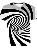 billige T-skjorter og singleter til herrer-Tynn Rund hals EU / USA størrelse T-skjorte Herre - Stripet / Geometrisk / 3D Hvit
