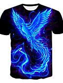 billige T-skjorter og singleter til herrer-Rund hals Store størrelser T-skjorte Herre - 3D / Dyr / Tegneserie, Trykt mønster Svart XXXL