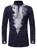 billige Herreskjorter-Bomull Rund hals EU / USA størrelse Skjorte Herre - Tribal, Trykt mønster Svart