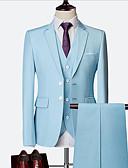 povoljno Odijela-Sky blue / Ruby / Navy Plava Jednobojni Uski kroj Najlon / Chinlon Odijelo - Stepenasti Droit 2 boutons