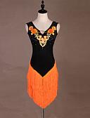 Χαμηλού Κόστους Φορέματα NYE-Λάτιν Χοροί Φορέματα Γυναικεία Επίδοση Spandex Κέντημα / Φούντα / Κρύσταλλοι / Στρας Αμάνικο Φόρεμα