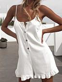 ราคาถูก จั๊มสูทและเสื้อคลุมสำหรับผู้หญิง-สำหรับผู้หญิง พื้นฐาน / Street Chic สาย สีดำ ขาว ส้ม หลวม Romper Onesie, สีพื้น เปิดหลัง / ระบาย / ลายต่อ S M L