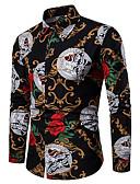 זול חולצות לגברים-פרחוני חולצה - בגדי ריקוד גברים דפוס שחור