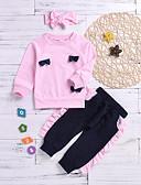 זול סטים של ביגוד לתינוקות-סט של בגדים כותנה שרוול ארוך אחיד בסיסי בנות תִינוֹק / פעוטות