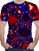 Χαμηλού Κόστους Ανδρικά μπλουζάκια και φανελάκια-Ανδρικά Μέγεθος EU / US T-shirt Συνδυασμός Χρωμάτων / 3D / Γραφική Στρογγυλή Λαιμόκοψη Στάμπα Ρουμπίνι