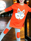 ราคาถูก ชุดเด็กผู้หญิง-เด็ก เด็กผู้หญิง ซึ่งทำงานอยู่ พื้นฐาน ลายบล็อคสี การ์ตูน ลายต่อ ปัก แขนยาว สั้น ฝ้าย ชุดเสื้อผ้า ส้ม