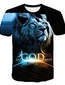 baratos Camisetas & Regatas Masculinas-Homens Tamanhos Grandes Camiseta Exagerado Estampado, 3D / Animal Decote Redondo Preto XXXXL / Manga Curta