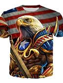 ราคาถูก เสื้อยืดและเสื้อกล้ามผู้ชาย-สำหรับผู้ชาย เสื้อเชิร์ต พื้นฐาน / ที่พูดเกินจริง ลายพิมพ์ 3D / สัตว์ / ธงประจำชาติ ทับทิม
