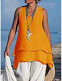 ราคาถูก เสื้อเอวลอยสำหรับผู้หญิง-สำหรับผู้หญิง ขนาดพิเศษ เสื้อสตรี ระบาย คอวี หลวม สีพื้น ส้ม