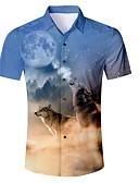 baratos Relógio Esportivo-Homens Camisa Social Animal Azul L / Manga Curta