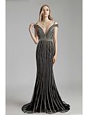 baratos Vestidos de Noite-Sereia Decote mergulhador Cauda Corte Tule Elegante & Luxuoso / Brilho & Glitter / Costas Lindas Evento Formal Vestido 2020 com Detalhes em Cristal