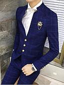billige Dresser-Svart / Navyblå rutete Slank Fasong Bomull Dress - Mandarin Enkelt Brystet Tre-knapp / drakter