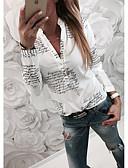 billige Skjorter til damer-Tynn Skjortekrage Skjorte Dame - Bokstaver Grunnleggende Hvit / Vår / Høst