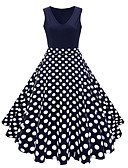 baratos Vestidos Vintage-Mulheres Tamanhos Grandes Vintage Anos 50 Algodão Evasê Vestido - Estampado, Poá Floral Decote V Médio