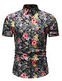 baratos Capinhas para iPhone-Homens Tamanho Europeu / Americano Camisa Social - Praia Básico / Moda de Rua Estampado, Floral / Gráfico Algodão Colarinho Clássico Arco-íris XL / Manga Curta