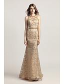 Χαμηλού Κόστους Γυναικείες Φούστες-Τρομπέτα / Γοργόνα Με Κόσμημα Ουρά Δαντέλα / Τούλι Κομψό & Πολυτελές / Όμορφη Πλάτη Επίσημο Βραδινό Φόρεμα 2020 με Χάντρες / Πούλιες