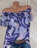 ราคาถูก เสื้อยืดสำหรับสุภาพสตรี-สำหรับผู้หญิง ขนาดพิเศษ เสื้อเชิร์ต ไหล่ตก เพรียวบาง รูปเรขาคณิต ทับทิม