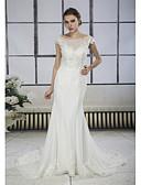 povoljno Vjenčanice-Sirena kroj Bateau Neck Srednji šlep Čipka / Til Izrađene su mjere za vjenčanja s Aplikacije / Čipka po ANGELAG