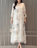 זול חולצות לגברים-מידי דפוס, פרחוני - שמלה גזרת A משוחרר משי אלגנטית בגדי ריקוד נשים