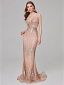 ราคาถูก Special Occasion Dresses-ทรัมเป็ต / เมอร์เมด สายสปาเกตตี้ ชายกระโปรงลากพื้น เลื่อม สะท้อนแสง ทางการ แต่งตัว กับ เลื่อม โดย TS Couture®