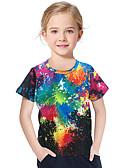 povoljno Majice za djevojčice-Djeca Dijete koje je tek prohodalo Djevojčice Aktivan Osnovni Geometrijski oblici Print 3D Print Kratkih rukava Majica s kratkim rukavima Crn