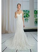Χαμηλού Κόστους Νυφικά-Τρομπέτα / Γοργόνα Καρδιά Ουρά μέτριου μήκους Δαντέλα / Τούλι Κανονικοί ιμάντες Sexy / Με Όμορφη Πλάτη Φορέματα γάμου φτιαγμένα στο μέτρο με Διακοσμητικά Επιράμματα / Δαντέλα 2020