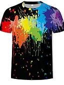 ราคาถูก เสื้อยืดและเสื้อกล้ามผู้ชาย-สำหรับผู้ชาย เสื้อเชิร์ต ฝ้าย ลายพิมพ์ คอกลม รูปเรขาคณิต / ลายบล็อคสี / 3D สายรุ้ง