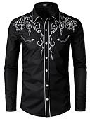 povoljno Muške košulje-Veličina EU / SAD Majica Muškarci Jednobojni Klasični ovratnik Vezeno Crn