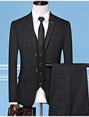 olcso Férfi zakók és öltönyök-Férfi Extra méret ruhák, Egyszínű Állógallér Poliészter Sötétszürke / Tengerészkék / Vékony