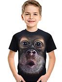 billige Topper til gutter-Barn Baby Gutt Aktiv Grunnleggende Trykt mønster Fargeblokk 3D Trykt mønster Kortermet T-skjorte Svart / Dyr